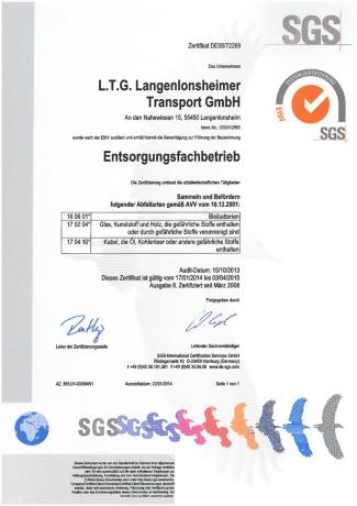 SGS Zertifikat